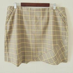Cabi Plaid Yellow Brown Skirt